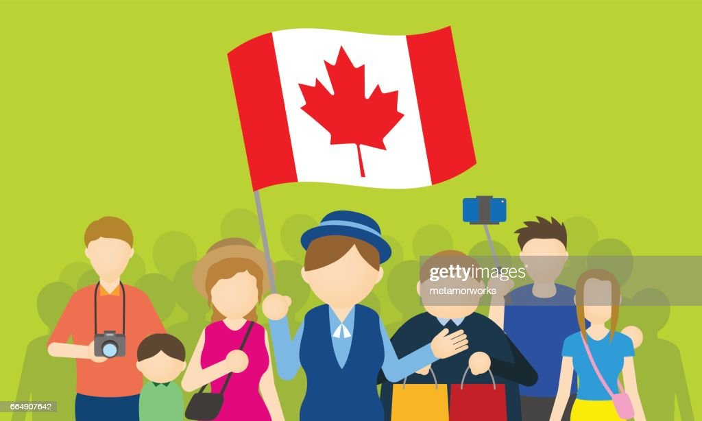 canadian tourists and tour guide, Inbound tourism, vector illustration
