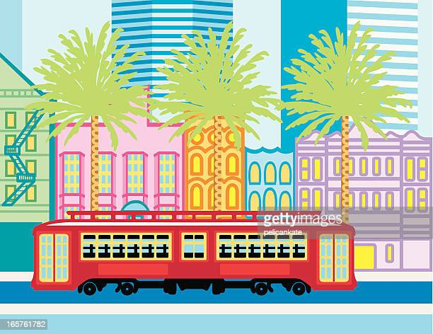 canal street - new orleans stock illustrations, clip art, cartoons, & icons