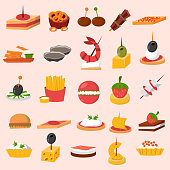 Canape snacks appetizer vector set.