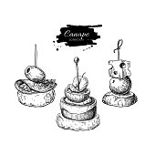 Canape vector drawings. Food appetizer and snack sketch. Finer food for buffet, restaurant, catering service.