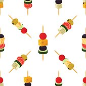 Canapes, tapas seamless pattern. Cartoon flat style