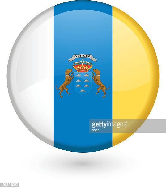 canary islands flag button - canary islands stock illustrations, clip art, cartoons, & icons
