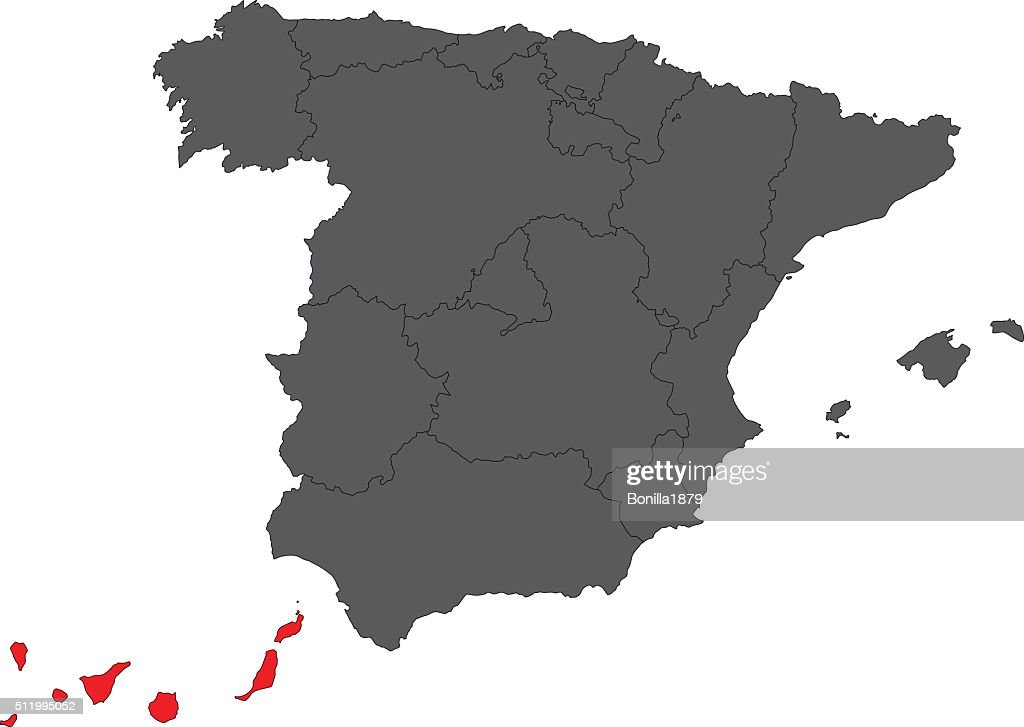 Canary Islands red map on gray Spain map vector