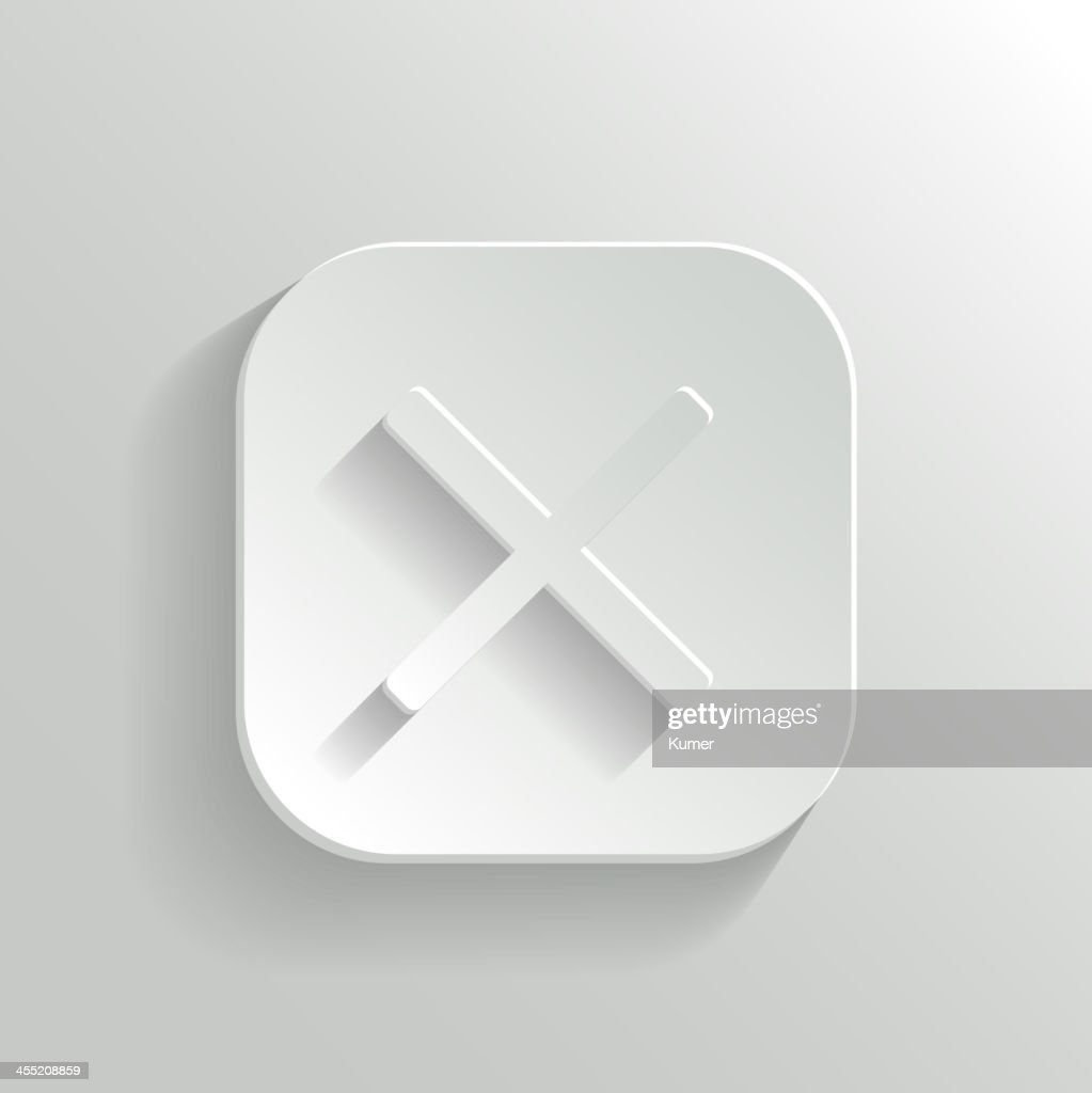 Cancel icon - vector white app button