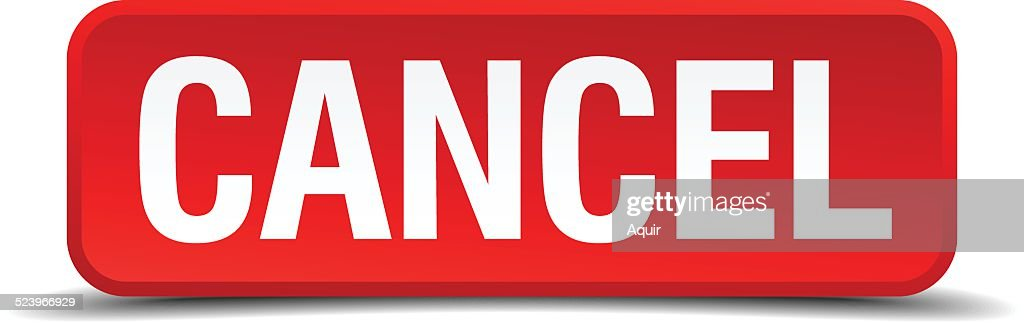 cancel red three-dimensional square button isolated on white background