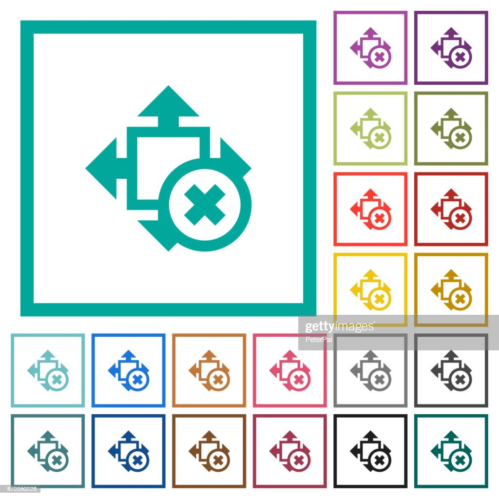 Cancel size flat color icons with quadrant frames