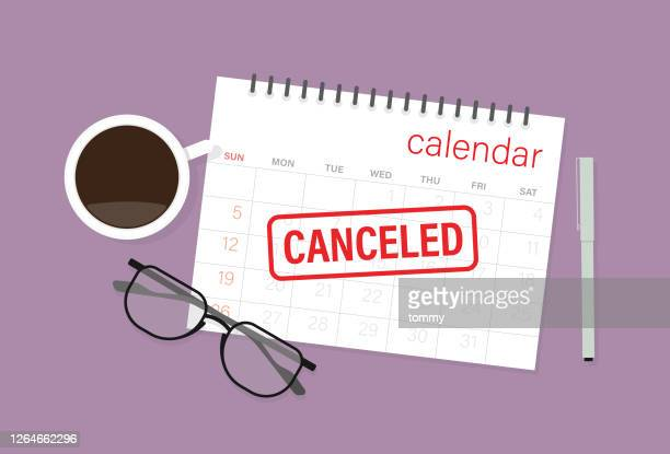canceled rubber stamp sign on a calendar with a pen, coffee cup, and eyeglasses - cancellation stock illustrations