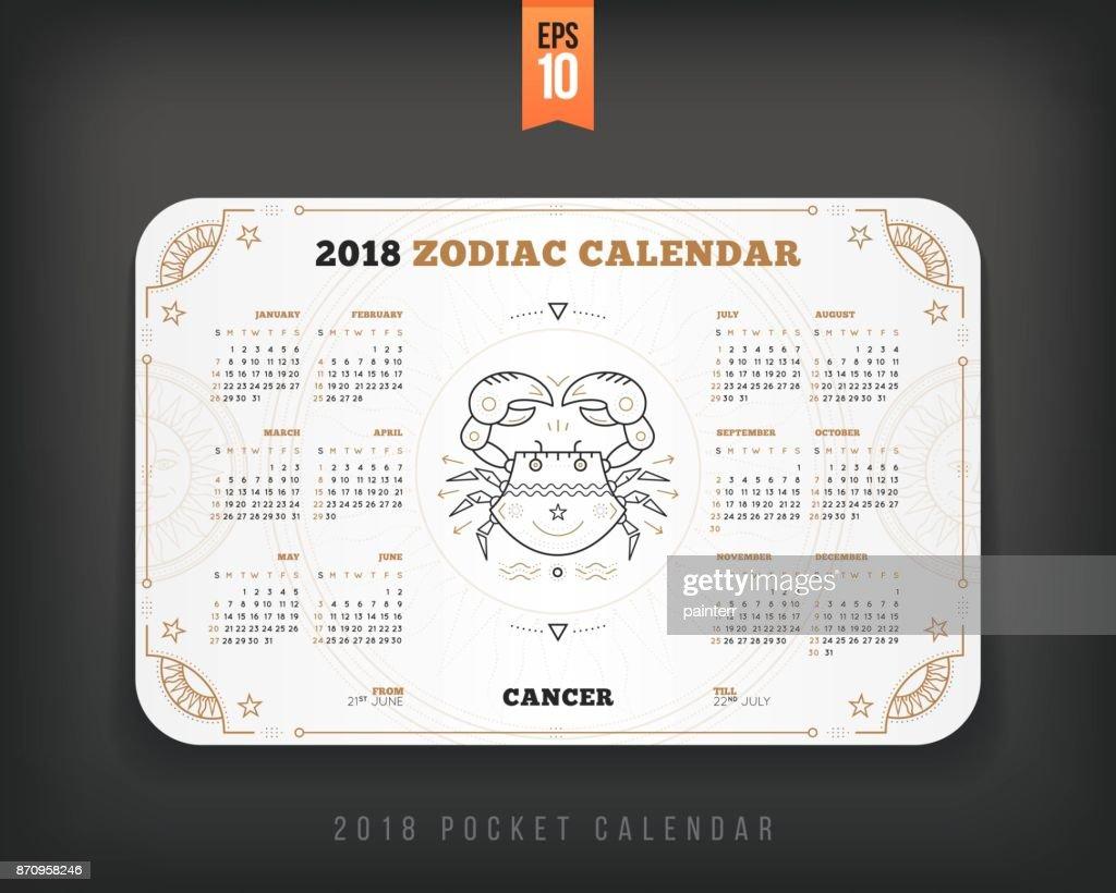 Zodiac Calendar June : Cancer year zodiac calendar pocket size horizontal layout
