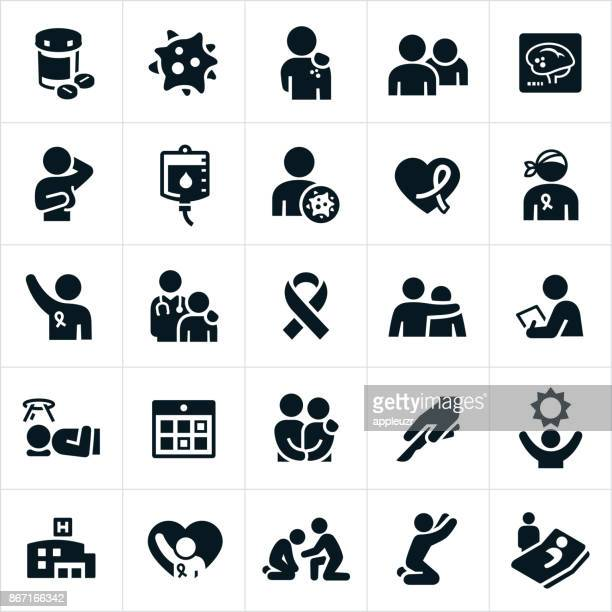 cancer icons - cancer illness stock illustrations, clip art, cartoons, & icons