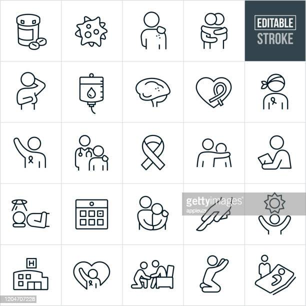 cancer thin line icons - editable stroke - patient stock illustrations