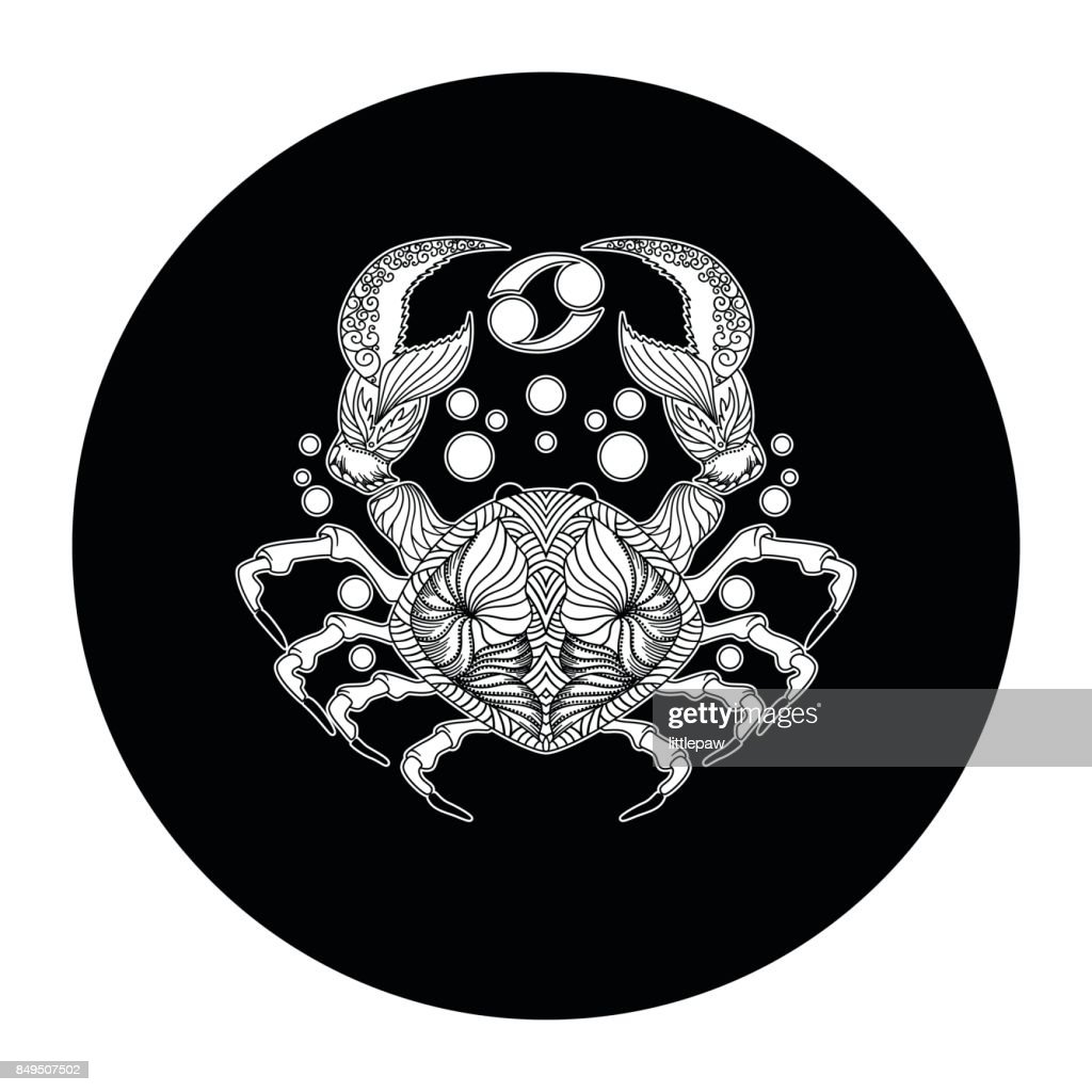 Cancer zodiac sign, horoscope symbol, vector illustration