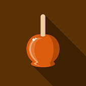 Candied Apple Flat Design Autumn Icon with Side Shadow