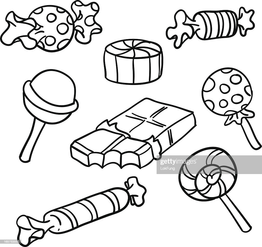Drawing Lines Is Hard : Candies collection in black and white vector art getty