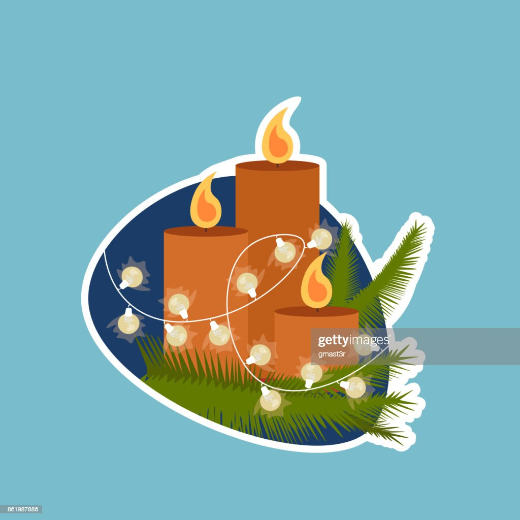 Candle Decoration Christmas And New Year Holidays Sticker Social Media Network Message Design