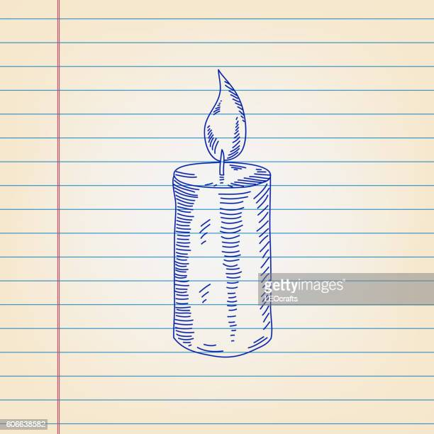 Candle Drawing on ruled paper