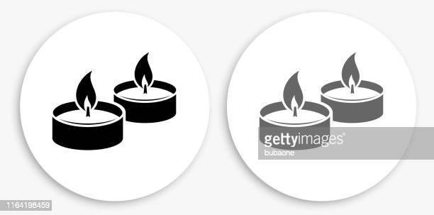 bildbanksillustrationer, clip art samt tecknat material och ikoner med ljus eld svart och vit rund ikon - levande ljus