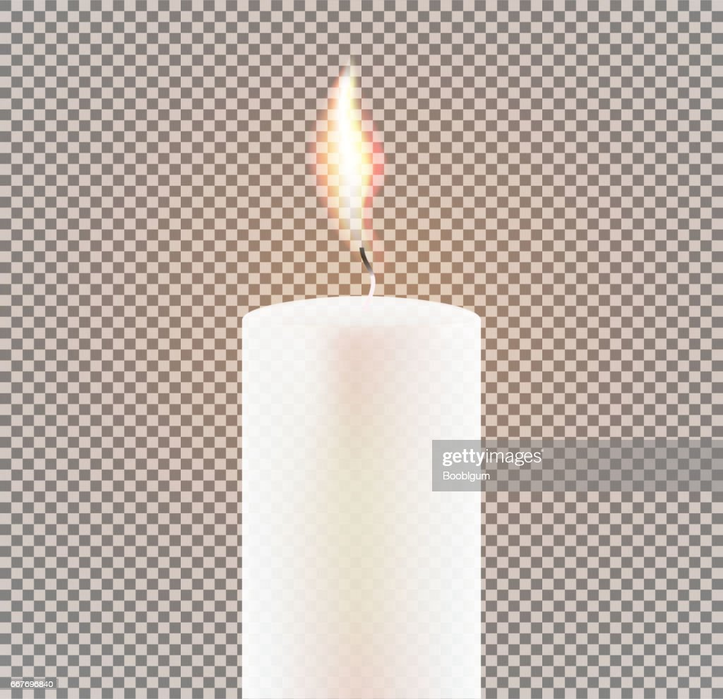 Candle Flame on Transparent Background.