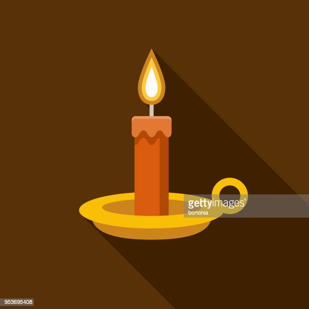 candle flat design halloween icon with side shadow - candle stock illustrations, clip art, cartoons, & icons