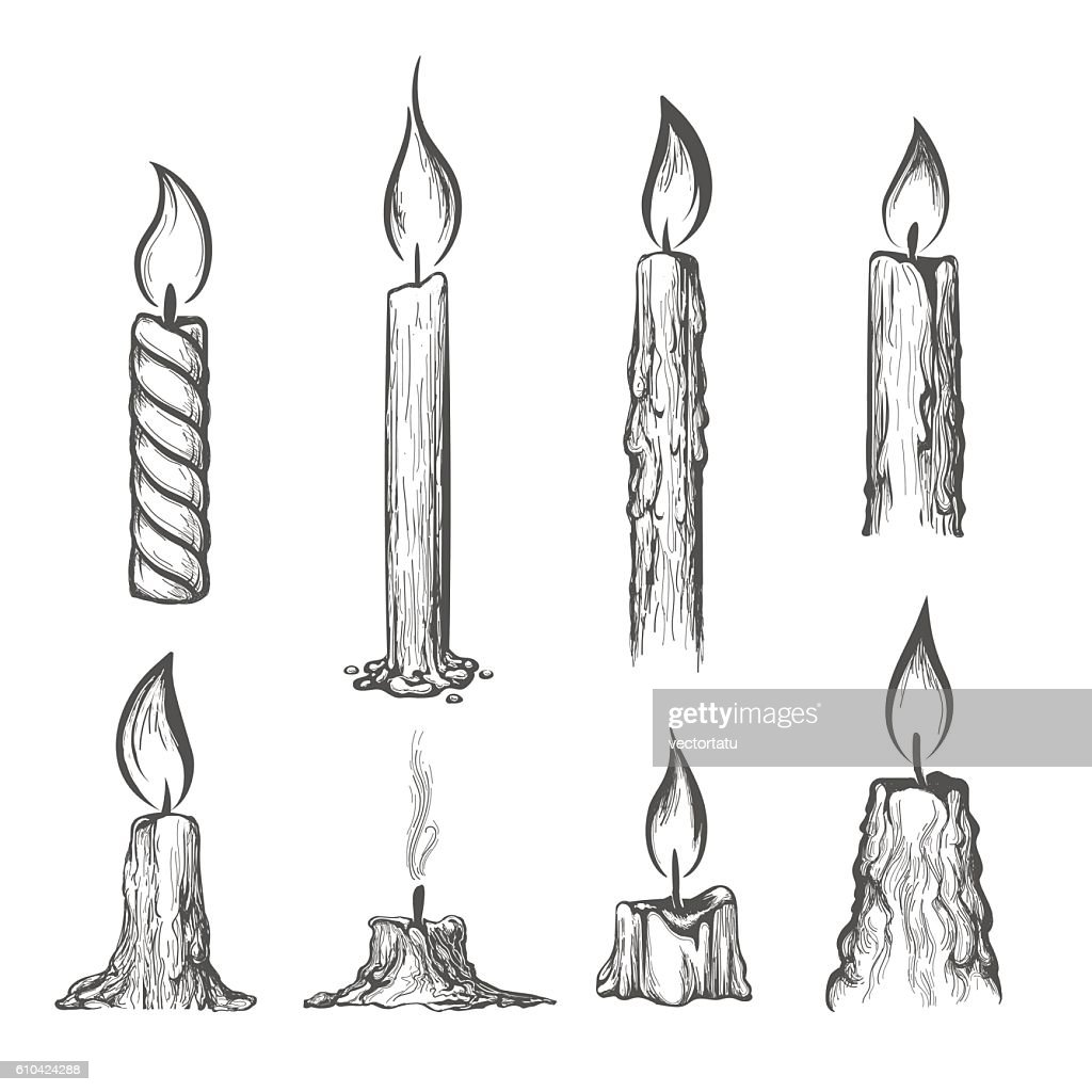 Candle hand drawn set
