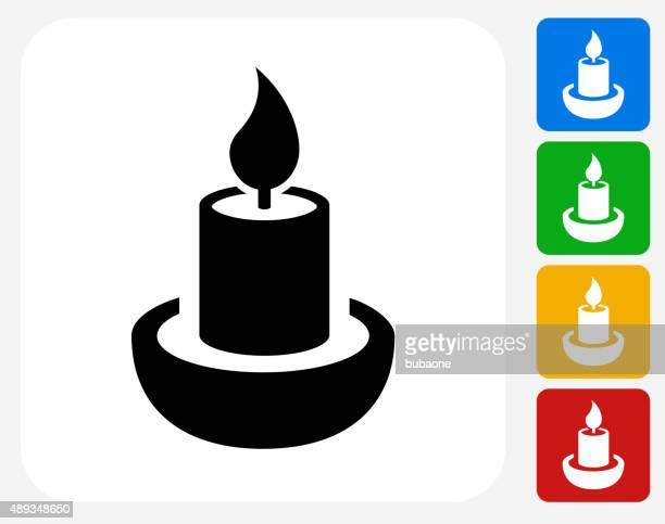 candle icon flat graphic design - candle stock illustrations, clip art, cartoons, & icons