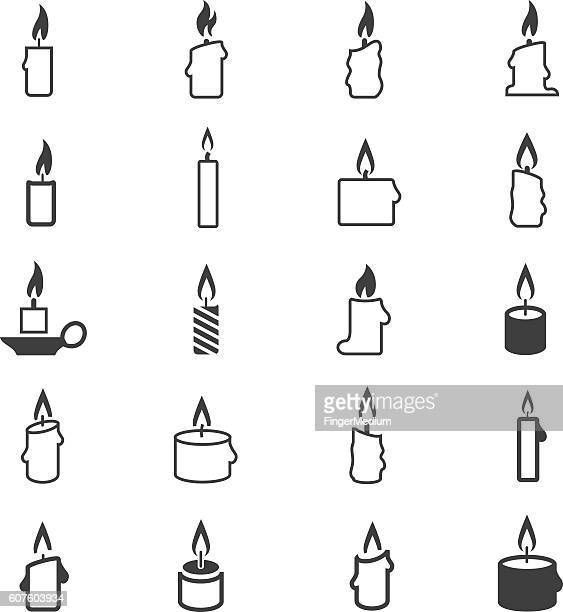 candle icon set - memorial event stock illustrations