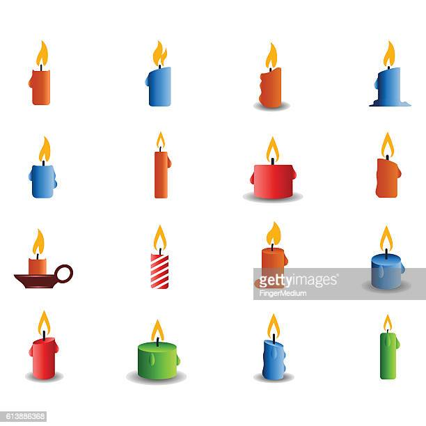 candle icon set - candle stock illustrations, clip art, cartoons, & icons