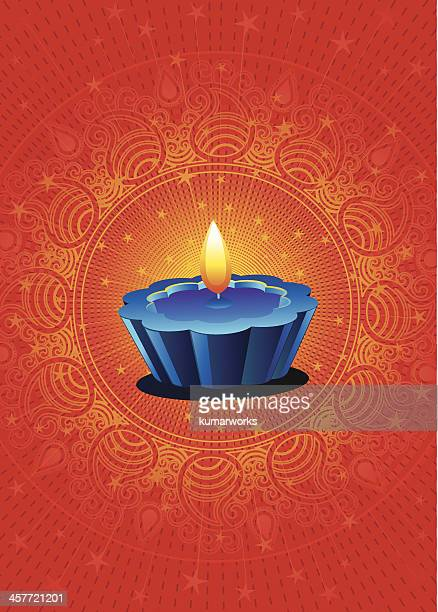 candle on a red background for diwali - hinduism stock illustrations