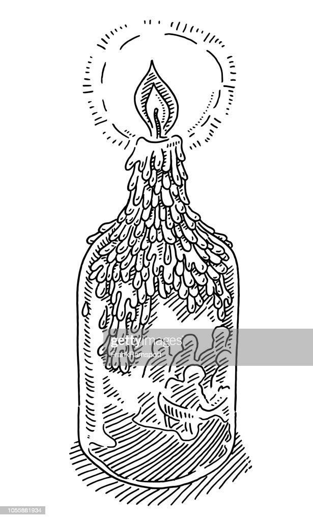 Kerze auf Flasche im Restaurant Zeichnung : Vektorgrafik