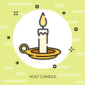 Candle Open Outline Easter Icon