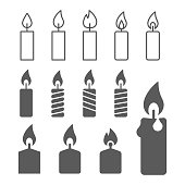candle silhouettes on the white background