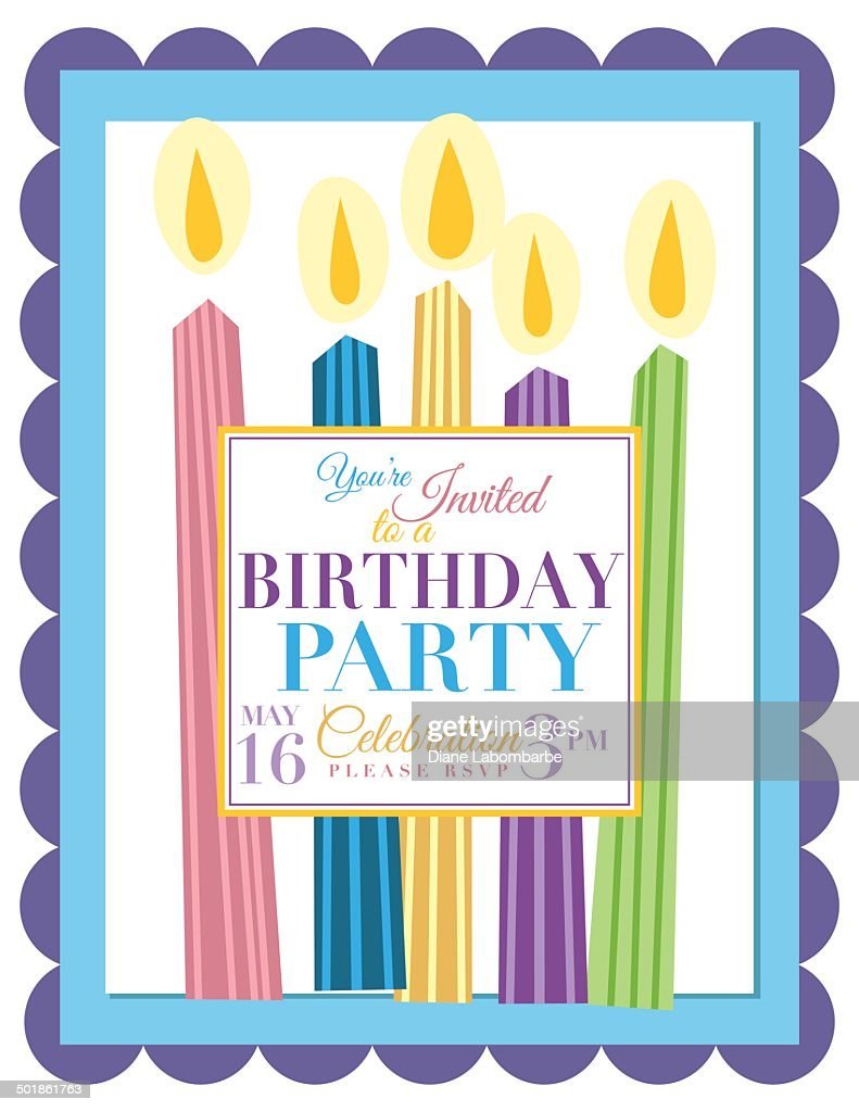 Candles Birthday Party Invitation Template Stock Vector