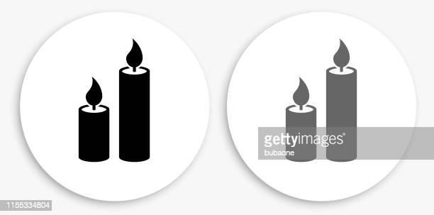 candles black and white round icon - candle stock illustrations, clip art, cartoons, & icons