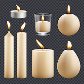 Candles collection. Decorative birthday celebration wax candles flame different types vector realistic pictures