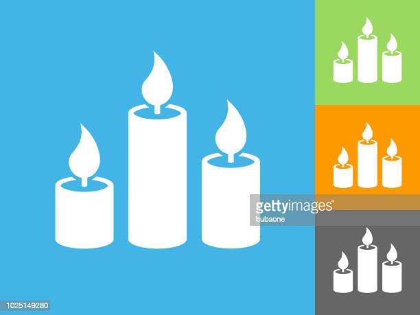candles  flat icon on blue background - candle stock illustrations