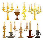 Candles in candlesticks set, vintage candle holders and candelabrums vector Illustration on a white background