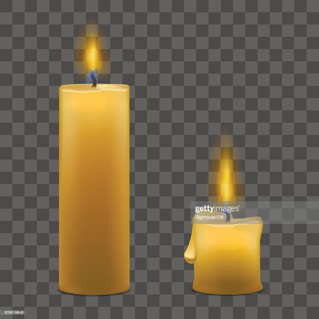 Candles with Fire Set on Transparent Background. Vector