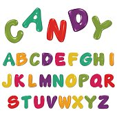 Candy alphabet isolated on white