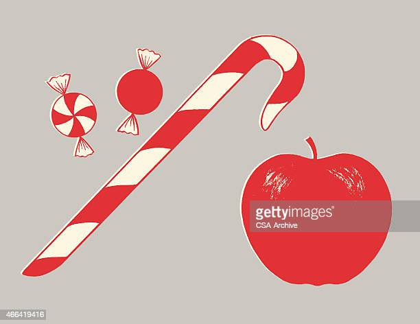 candy and apple - candy cane stock illustrations