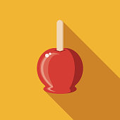 Candy Apple Flat Design Carnival Icon with Side Shadow
