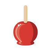 Candy Apple Flat Design Dessert Icon