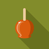 Candy Apple Flat Design Halloween Icon with Side Shadow