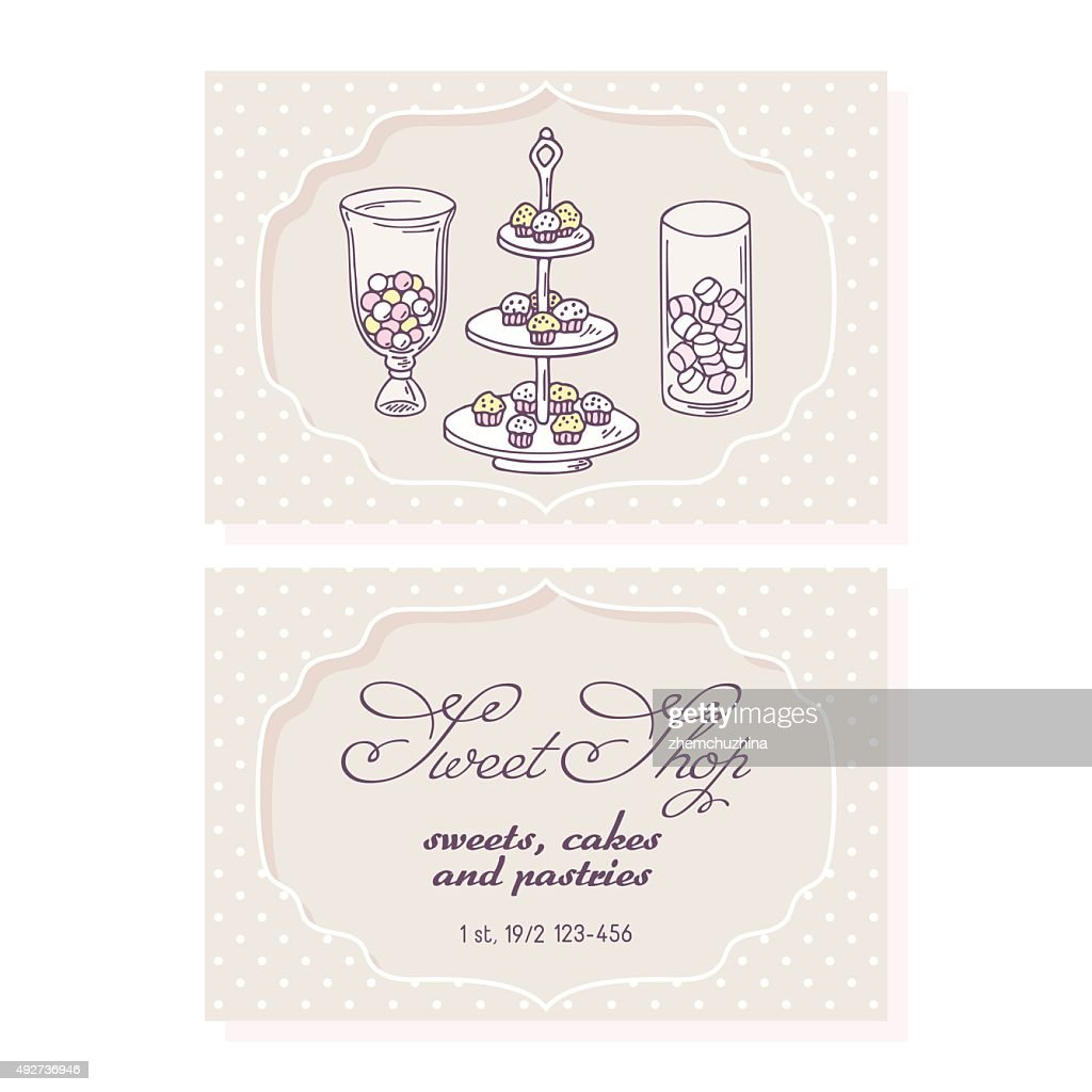 Candy bar business card template for pastry shop vector art getty candy bar business card template for pastry shop vector art colourmoves