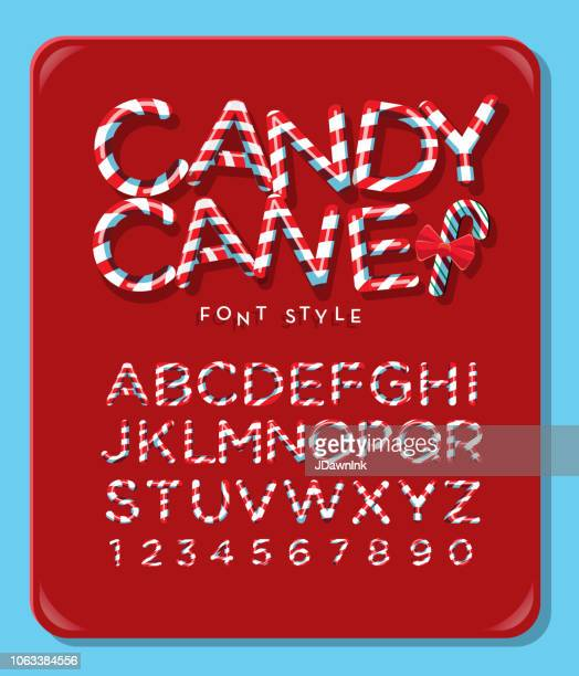 candy cane alphabet capital letter font design with red and white stripes - candy cane stock illustrations