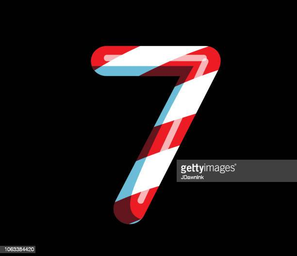 Candy Cane alphabet font design with red and white stripes Number 7