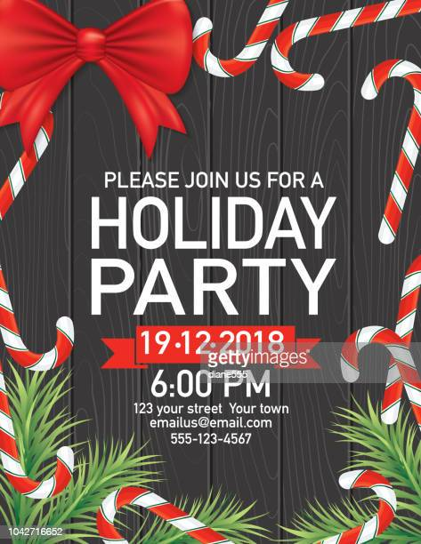 candy cane christmas party invitation - candy cane stock illustrations