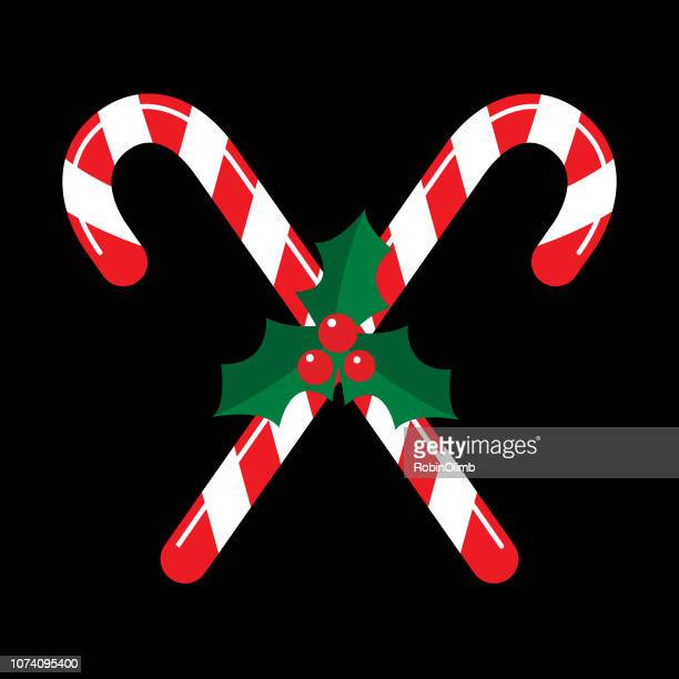 candy cane holly icon - candy cane stock illustrations