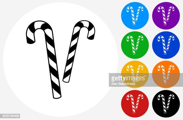 Candy Canes Icon on Flat Color Circle Buttons