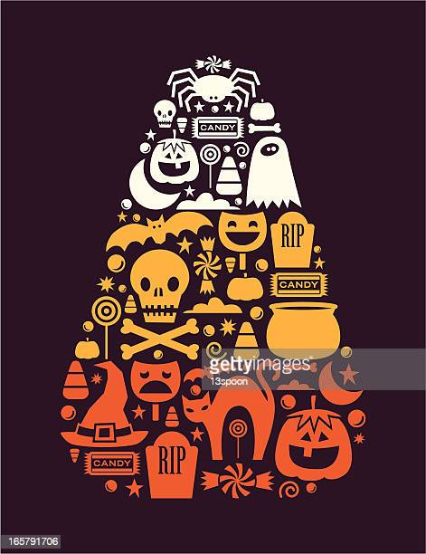 candy corn design - cauldron stock illustrations, clip art, cartoons, & icons