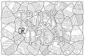 Candy corn sweets vector coloring page. Candy corn with ornament. Halloween coloring page.