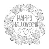 Candy corn vector coloring page. Happy Halloween greeting card. Candy corn frame.